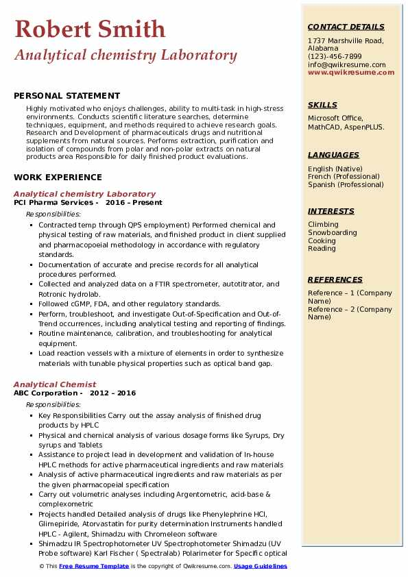 Analytical chemistry Laboratory Resume Format