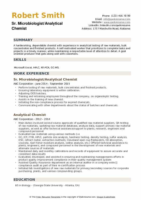 Sr. Microbiologist/Analytical Chemist Resume Example