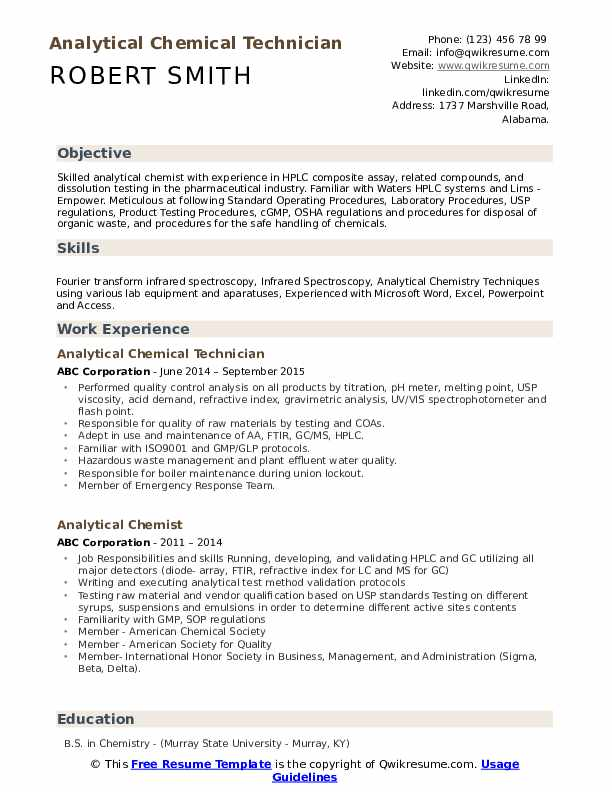 Analytical Chemical Technician  Resume Example