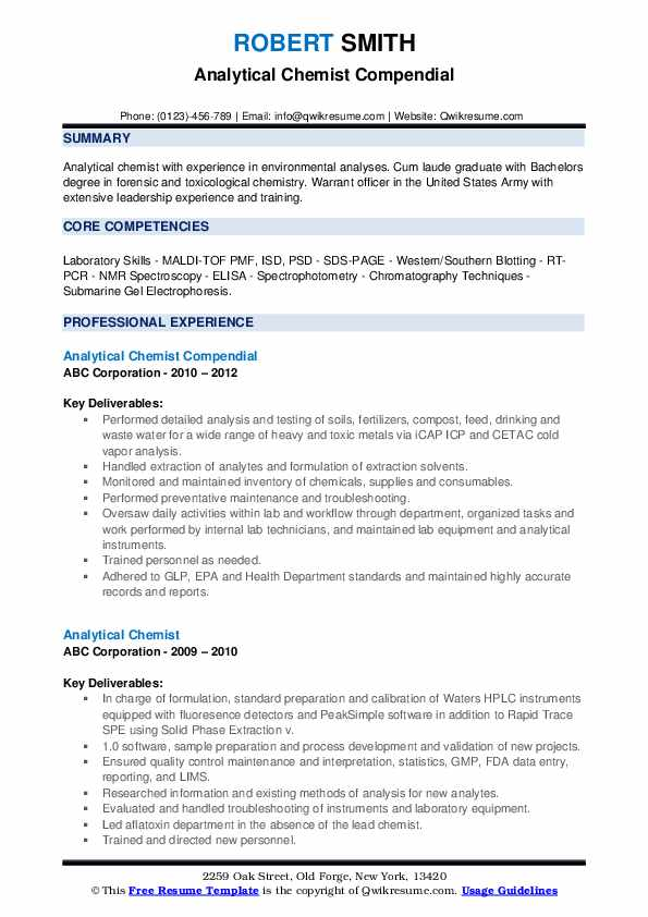 Analytical Chemist Compendial Resume Format