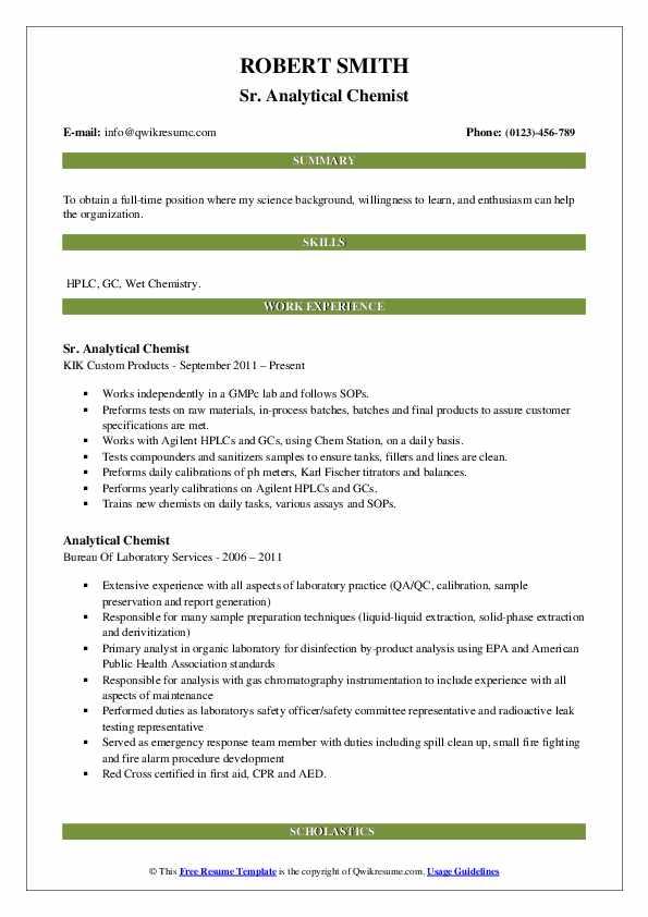 Sr. Analytical Chemist Resume Format