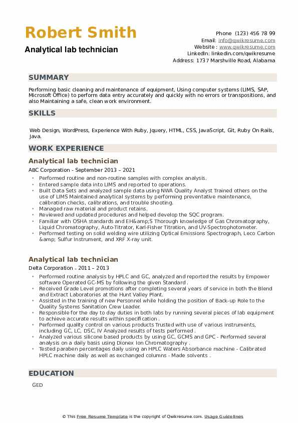 Analytical lab technician Resume example
