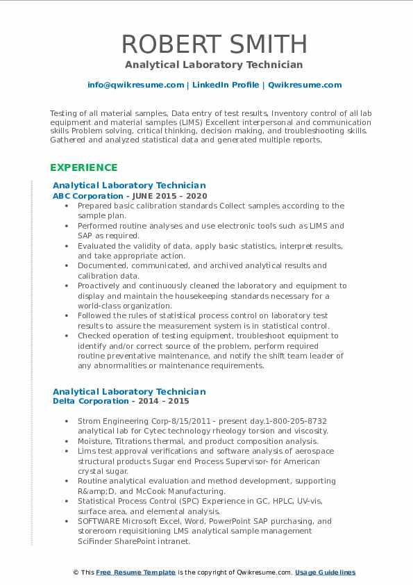 analytical laboratory technician resume samples  qwikresume