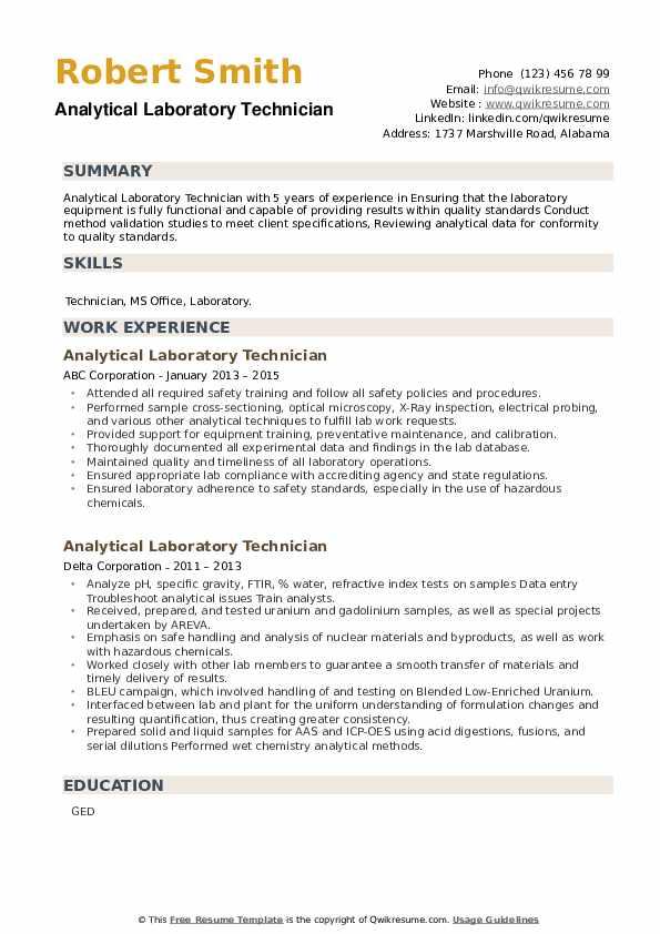 Analytical Laboratory Technician Resume example