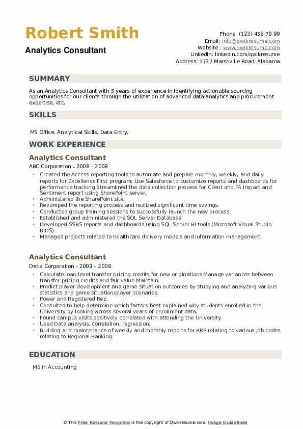 Analytics Consultant Resume example
