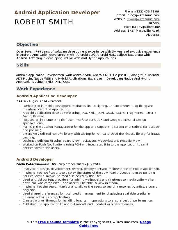 Android Application Developer Resume Samples | QwikResume