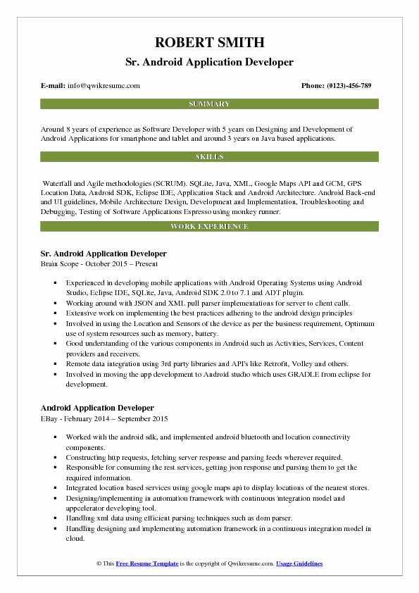 Great Sr. Android Application Developer Resume Sample  Android Developer Resume