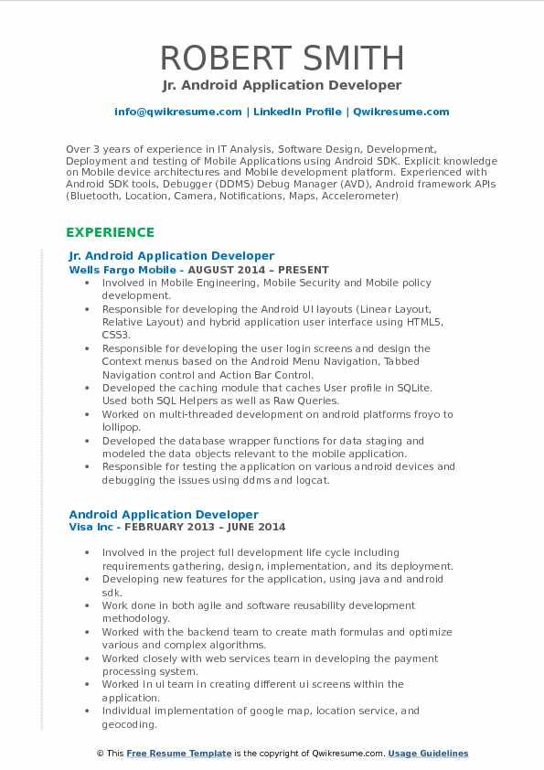 android application developer resume samples