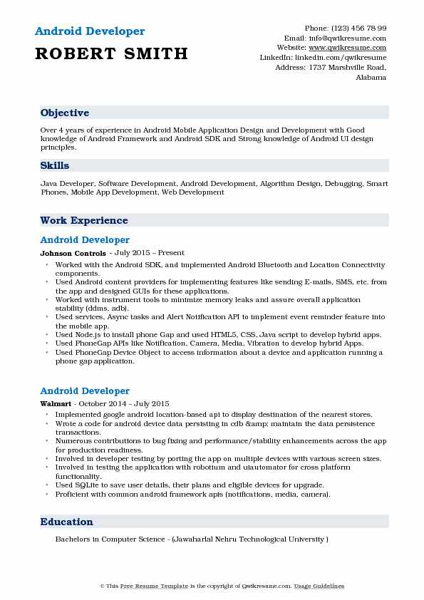 android developer resume sample - Android Developer Resume