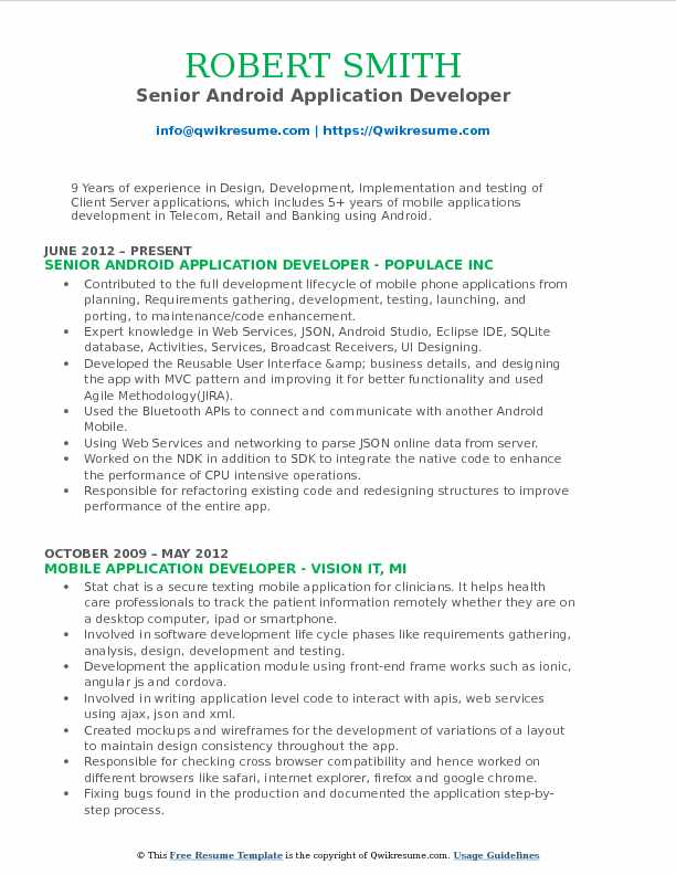 Senior Android Application Developer Resume Sample  Senior Developer Resume