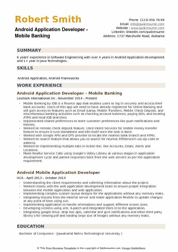 Android Application Developer Resume example