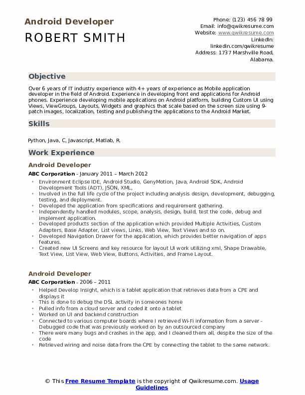 Android Developer Resume Sample