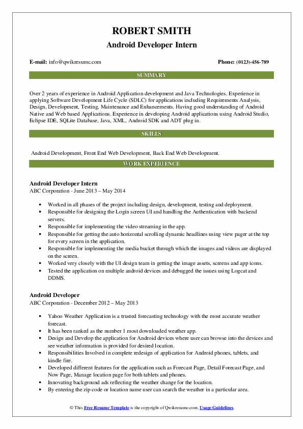 Android Developer Intern Resume Format