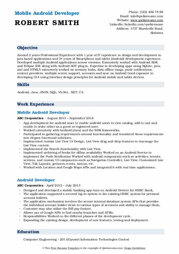Mobile Android Developer Resume Sample