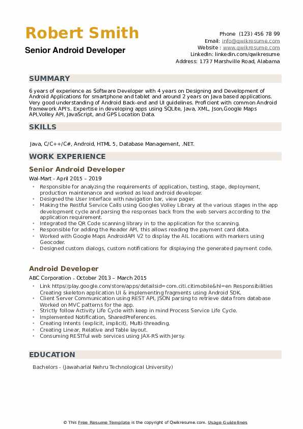 Senior Android Developer Resume Sample