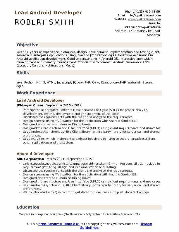 Lead Android Developer Resume Model