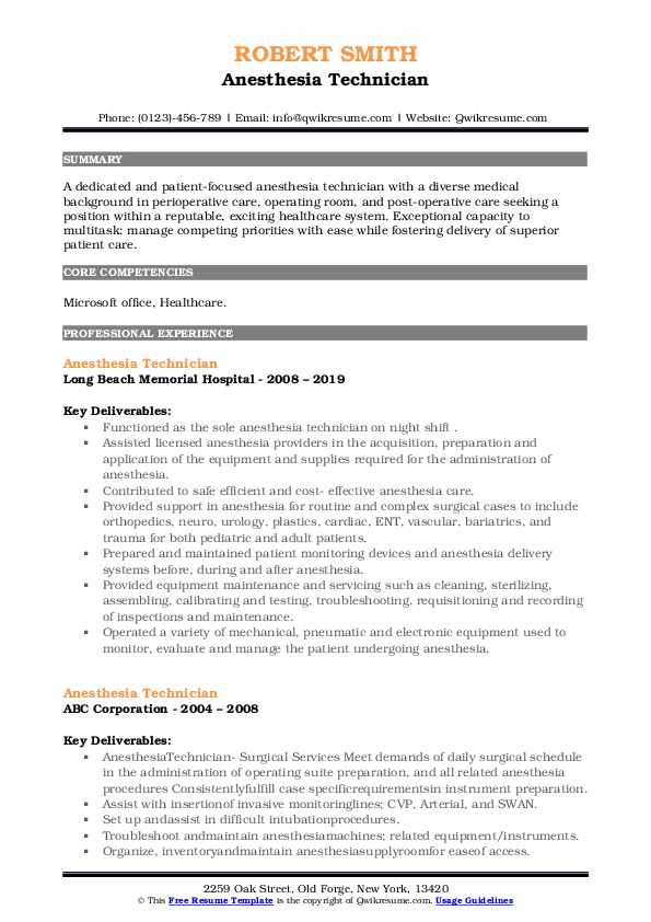Anesthesia Technician Resume Model