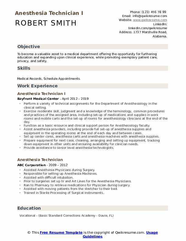 Anesthesia Technician I Resume Example