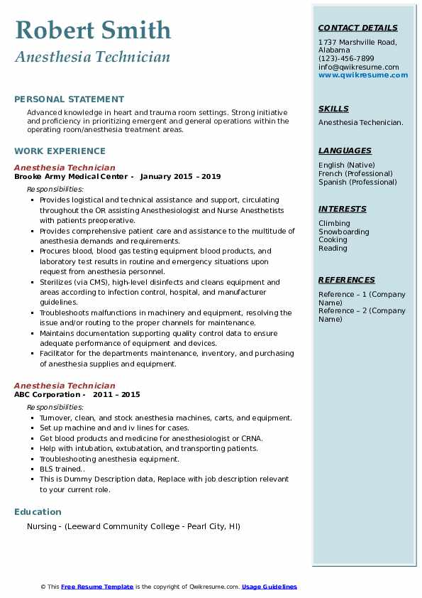 anesthesia technician resume samples