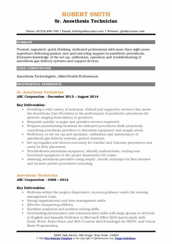 Sr. Anesthesia Technician Resume Model