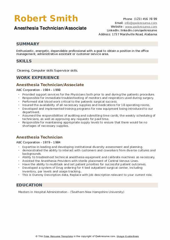 Anesthesia Technician/Associate  Resume Format