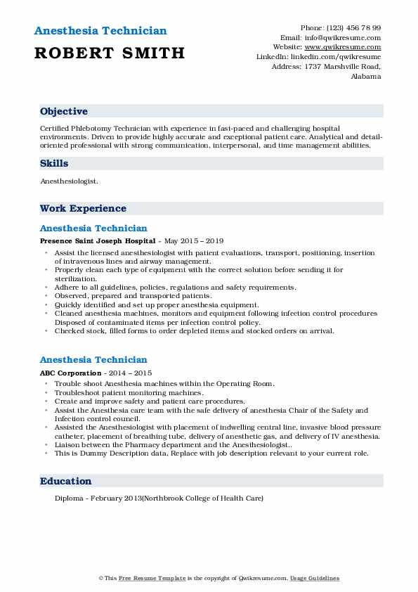 Anesthesia Technician Resume Samples Qwikresume