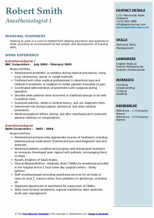 Anesthesiologist Resume example