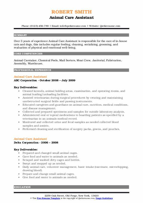 animal care assistant resume samples  qwikresume