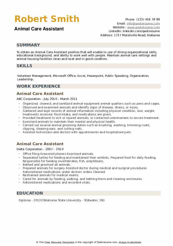 Animal Care Assistant Resume example