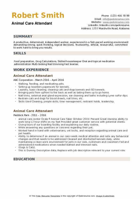 Animal Care Attendant Resume example