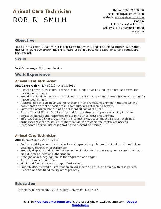 Animal Care Technician Resume Sample