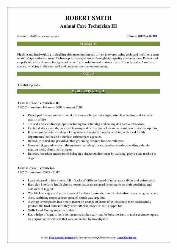 Animal Care Technician III Resume Template