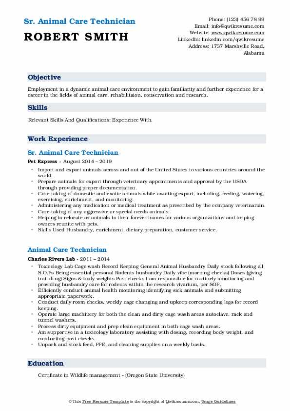 Sr. Animal Care Technician Resume Format