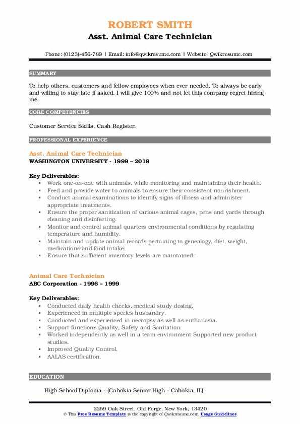 Asst. Animal Care Technician Resume Example