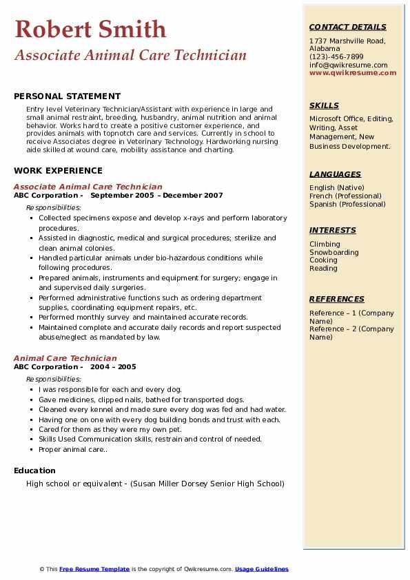Associate Animal Care Technician Resume Example