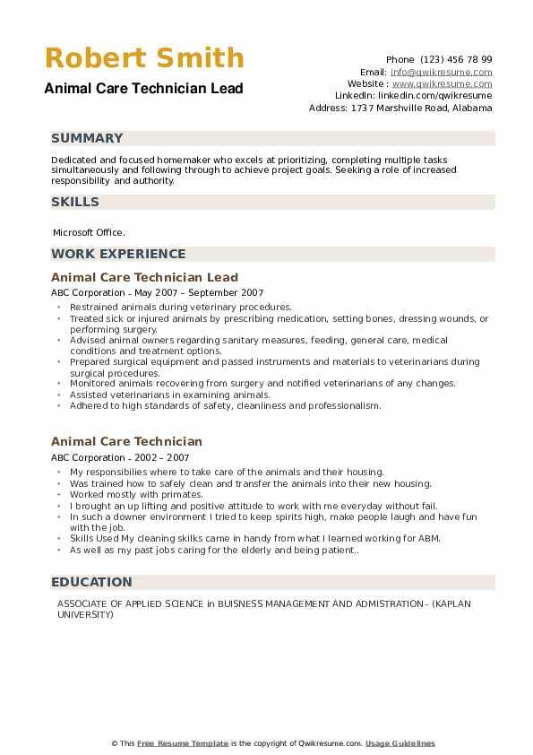Animal Care Technician Lead  Resume Example