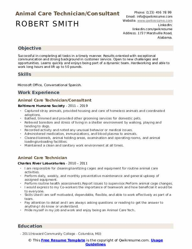 Animal Care Technician/Consultant  Resume Template