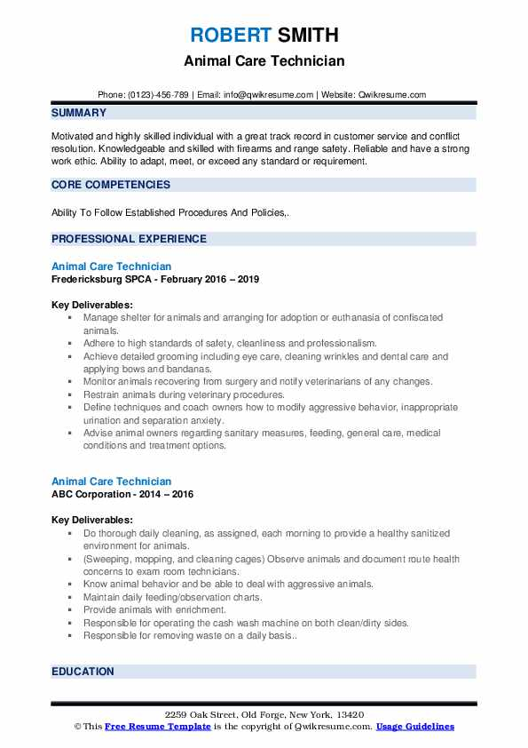 Animal Care Technician Resume example