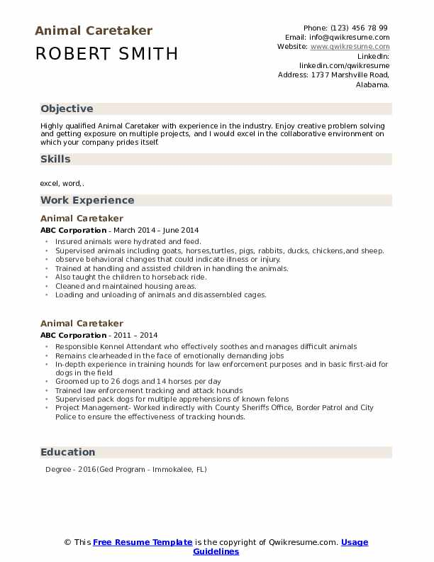 Animal Caretaker Resume Template