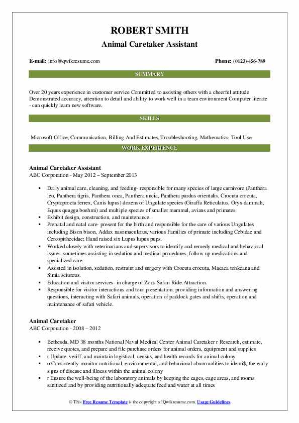 Animal Caretaker Assistant Resume Model