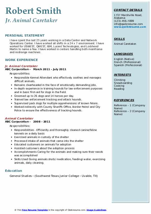 Jr. Animal Caretaker Resume Example