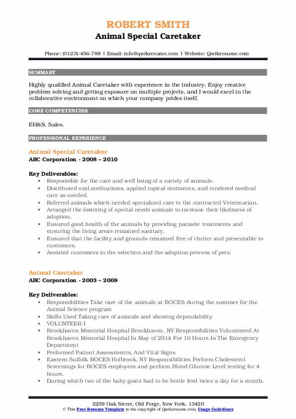 Animal Special Caretaker Resume Sample