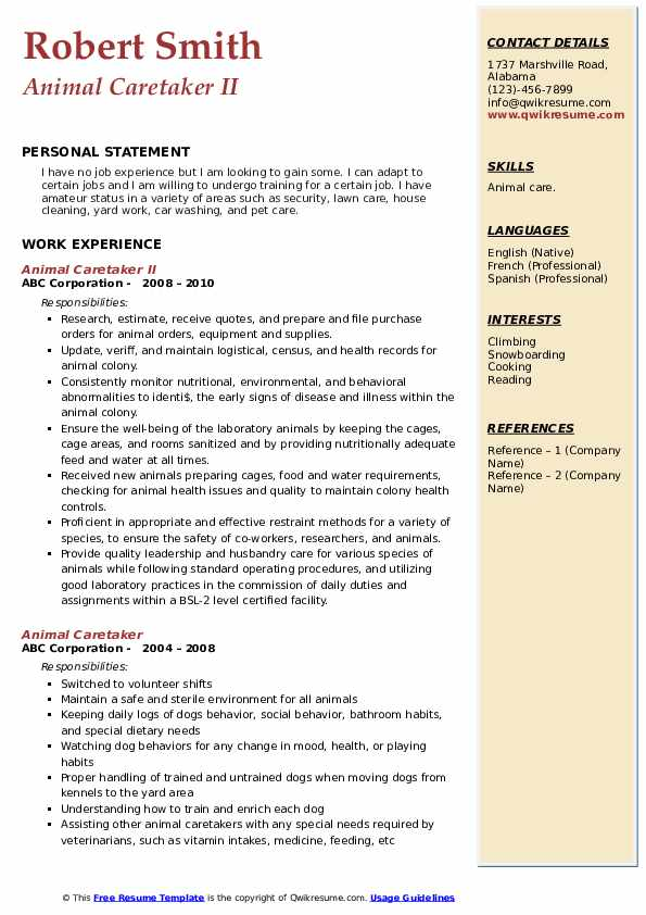 Animal Caretaker II Resume Format