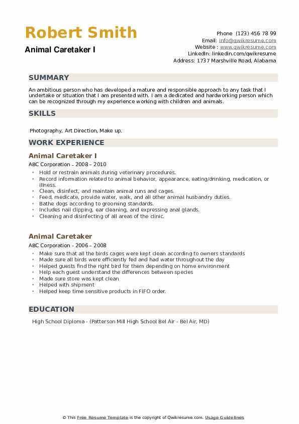 Animal Caretaker I Resume Format