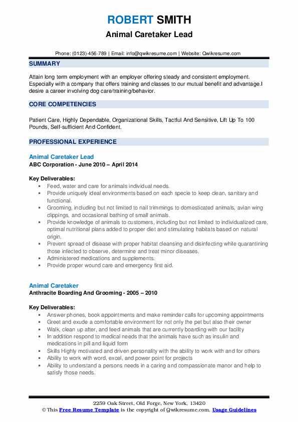 Animal Caretaker Lead Resume Format