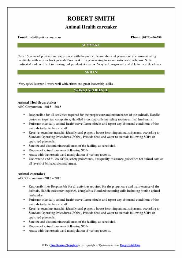 Animal Health caretaker Resume Model
