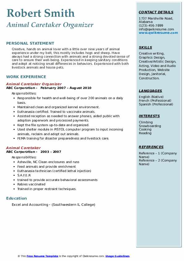 Animal Caretaker Organizer Resume Format