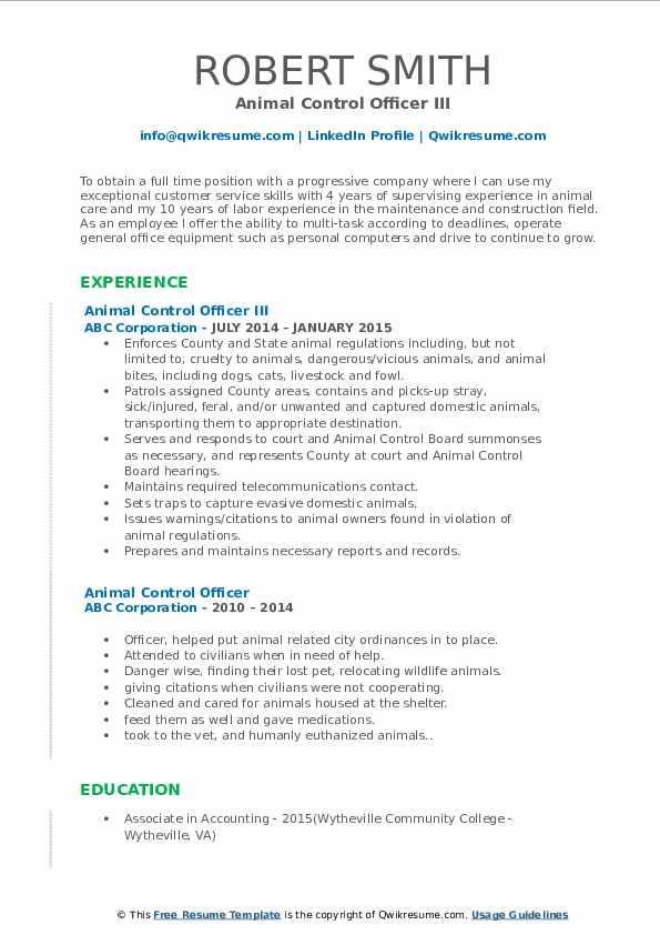 Animal Control Officer III Resume Format