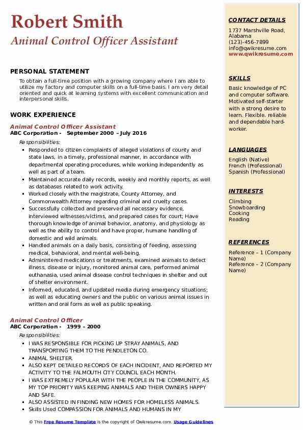 Animal Control Officer Assistant Resume Model