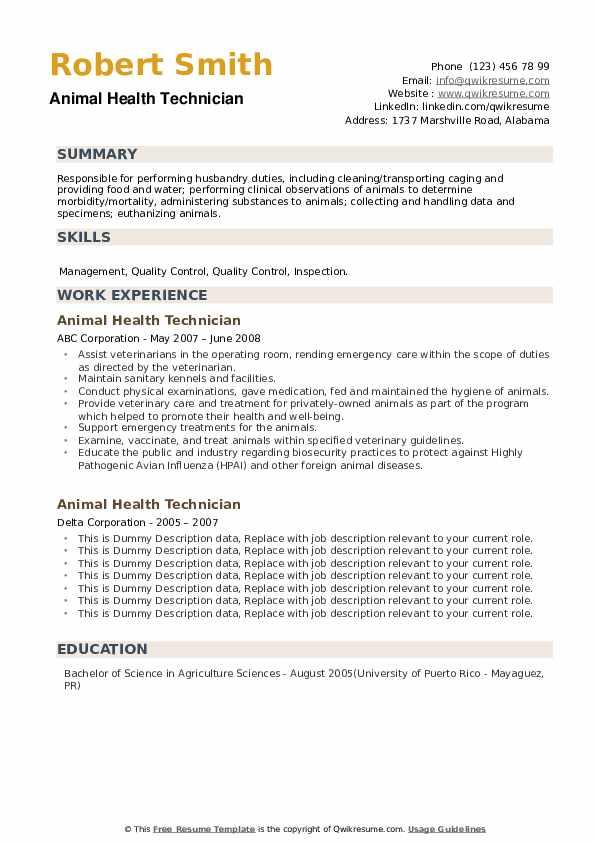 Animal Health Technician Resume example